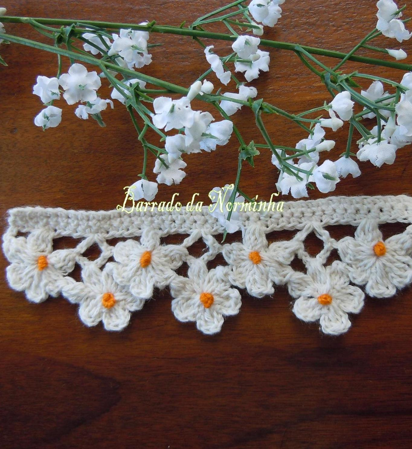 Crochet Edging Patterns : ... Crochet Trim, Ponto Preso1, Crochet Edgings, Crochet Flower Edging, Um