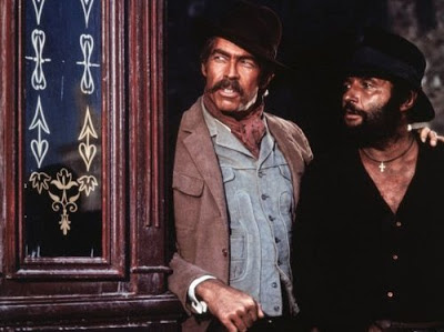 Rod Steiger as the Mexican bandit Juan Miranda, James Coburn as IRA (Irish) dynamite expert John H. Mallory in Duck, You Sucker, Directed by Sergio Leone