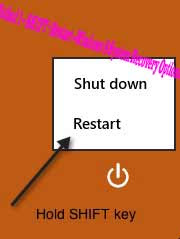 Method 1 – SHIFT + Restart --Windows 8 System Recovery Options