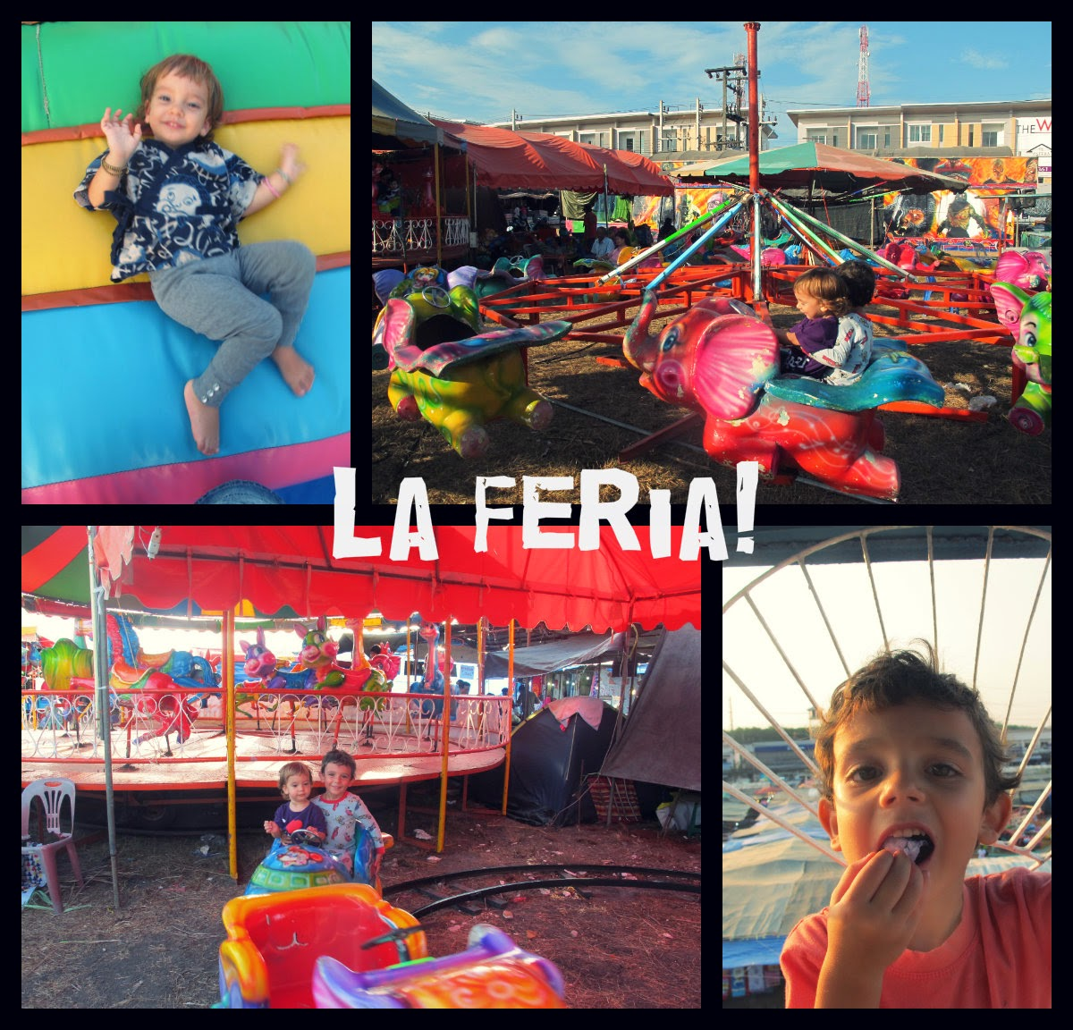 fun fair, kids, collage, la feria, phuket, crazy little family adventure