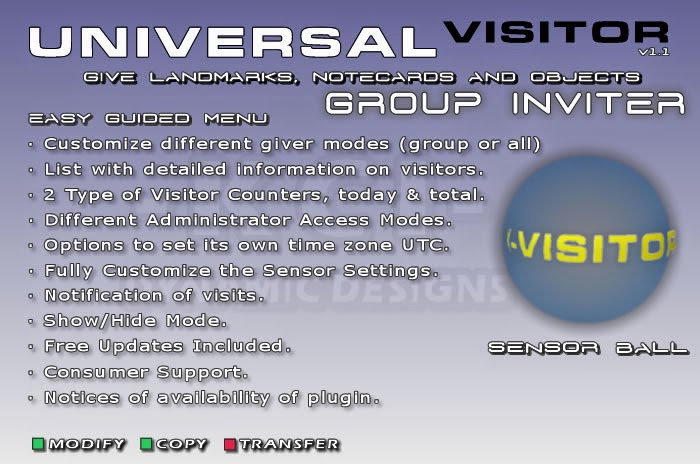 Universal Visitor Manager, Sensor Ball, Automatic Group Joiner