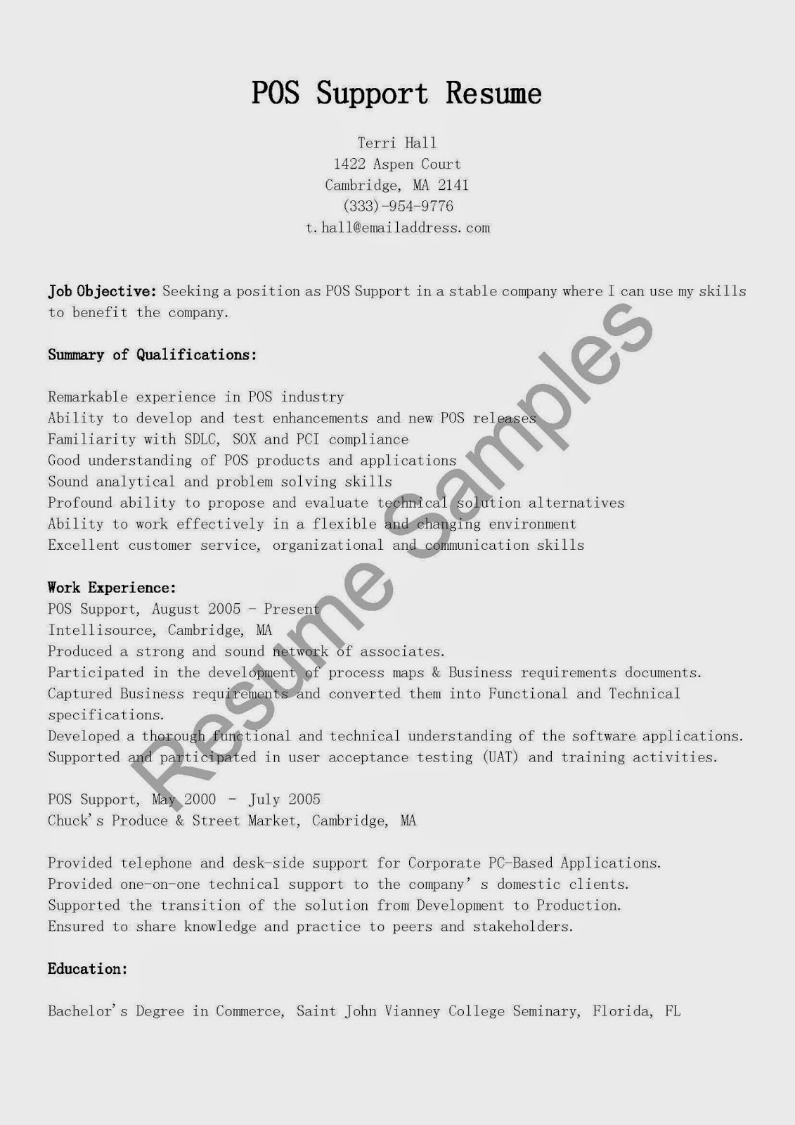 resume samples  pos support resume sample