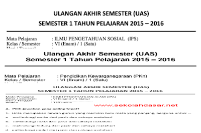 Download kumpulan soal UAS kelas 6 semester 1