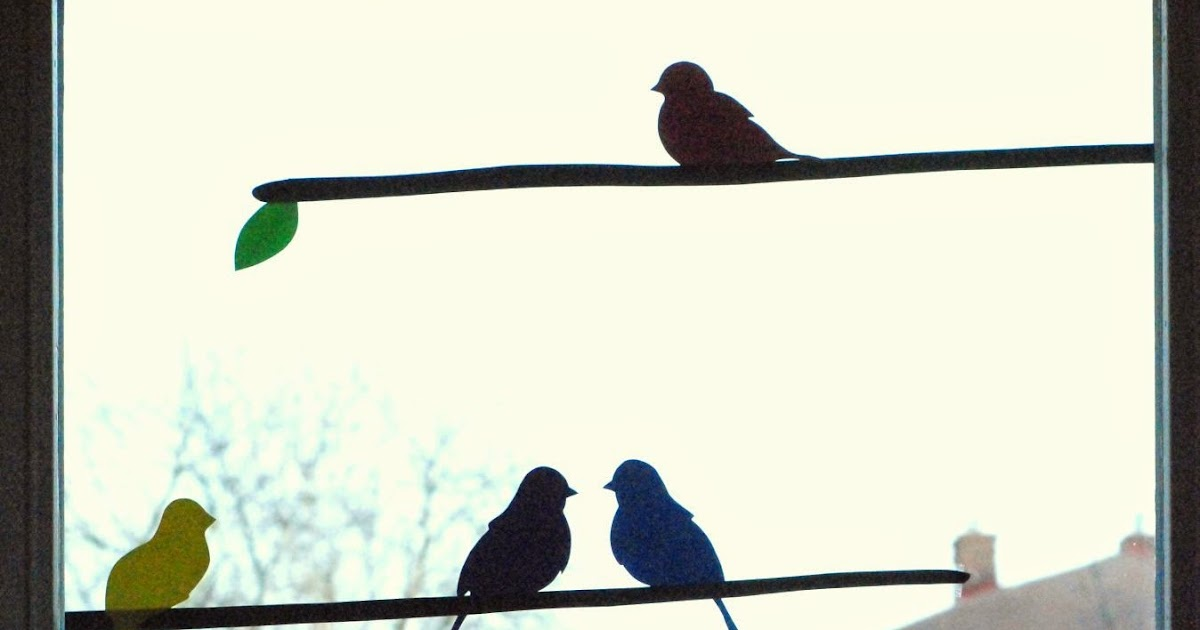 Lubię Tworzyć Ptaki Na Gałązce Dekoracja Okienna