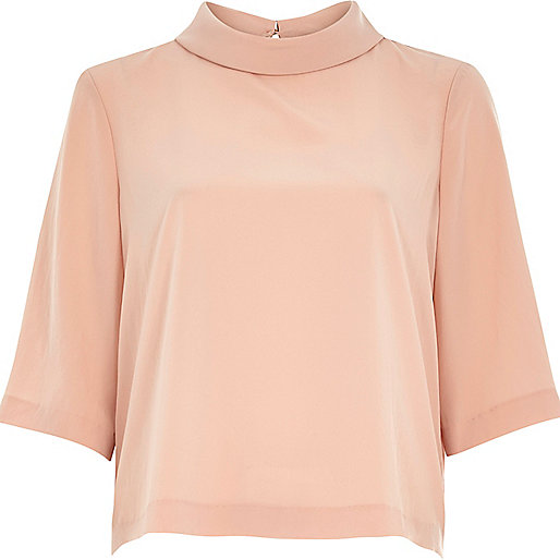 peach high neck top, river island peach top,