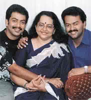 Prithviraj with mother and brother