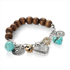 Turquoise charm & bead bracelet