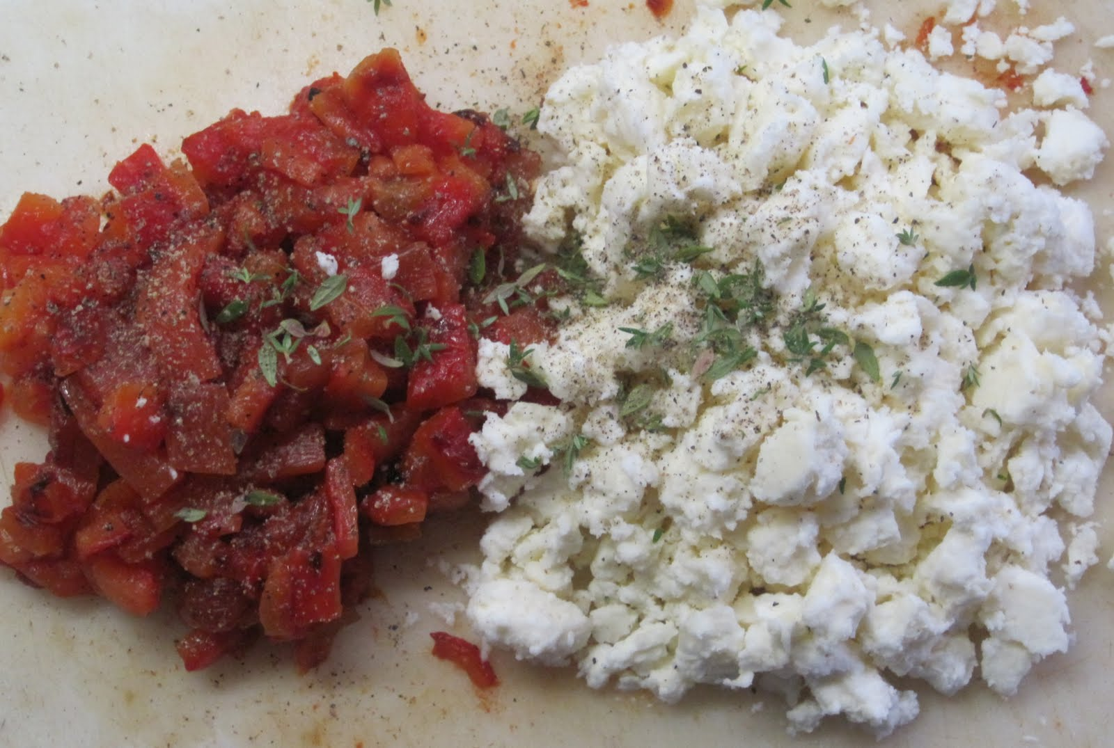 ... Happiness: Zucchini Stuffed with Roasted Red Peppers and Feta Cheese