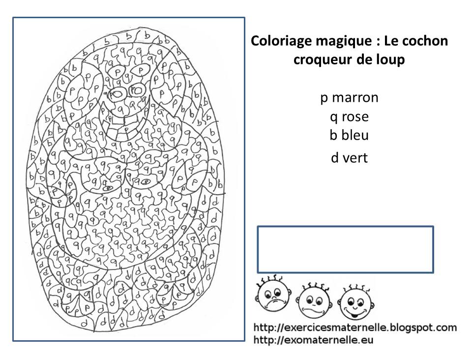 Maternelle coloriage magique le cochon croqueur de loups - Coloriage magique loup ...