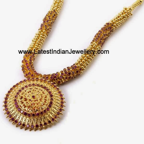 Trendy Ruby Gold Necklace