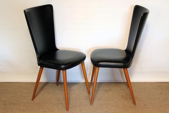 chicbaazar objets vintage 50 60 70 quatre chaises vintage ska noir et pieds compas 1960. Black Bedroom Furniture Sets. Home Design Ideas