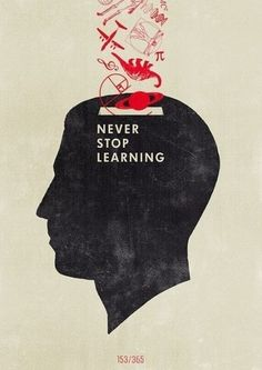 Silhouette stating never stop learning