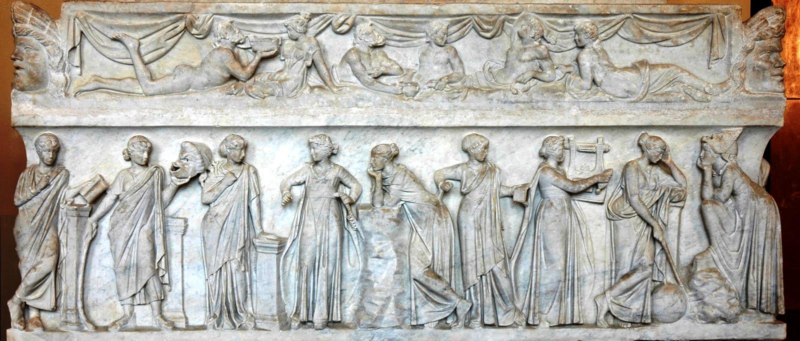 Sarcófago romano con las Musas, S.II d.C. Museo del Louvre