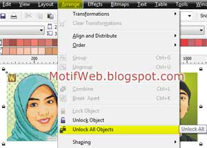 Unlock all objects Menu Bar CorelDRAW