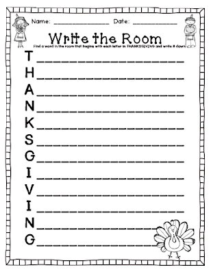 Kindergarten Kids At Play: Try it Out Freebie: November Write the Room