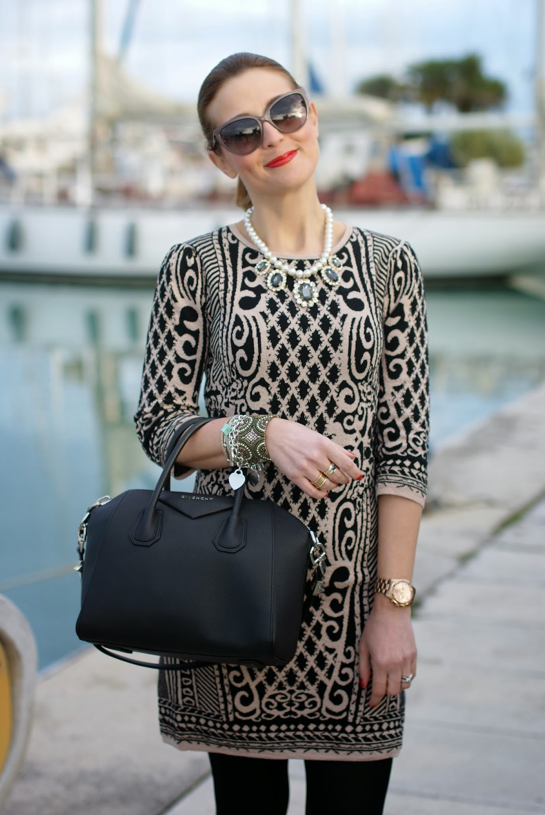 Sweewe paris baroque dress, Givenchy Antigona bag,Chicwish  Moschino sunglasses, Fashion and Cookies, fashion blogger