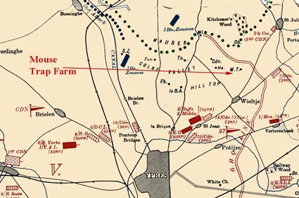 Figure 5. Position of troops at 5 pm on 22 April 1915.