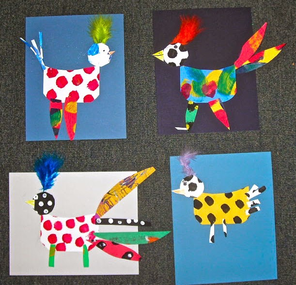 Fine lines painted paper chickens and roosters for Rooster craft for kindergarten