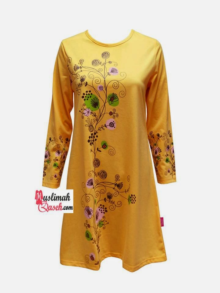 Baju muslimah Qaseh warna YELLOW WITH ASST COLOR FLORAL PRINTED