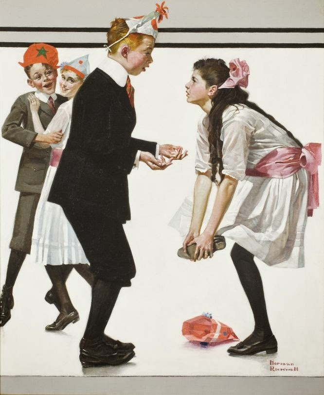 treading on toes dance illustration by norman rockwell