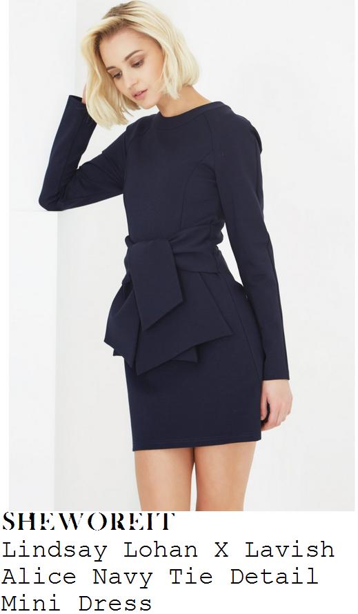 lindsay-lohan-navy-blue-long-sleeve-tie-detail-mini-dress