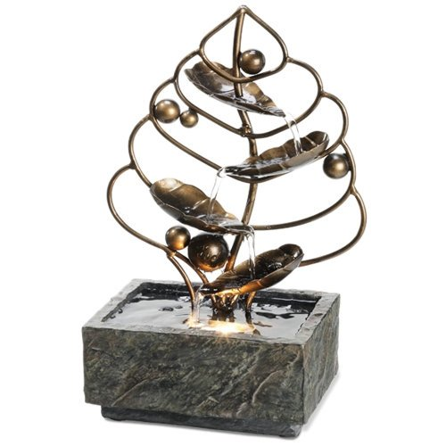 Desktop Water Fountain - Brass Leaf