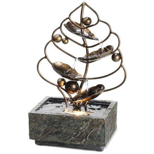 Desktop Water Fountain - Brass Leaf