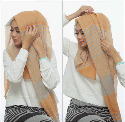 langkah 2 - 5 Cara Memakai Jilbab dengan Scarf Panjang ala Si Cantik Nada Puspita