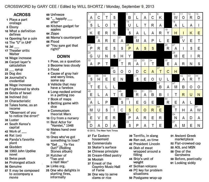 free monday new york times crossword puzzles html