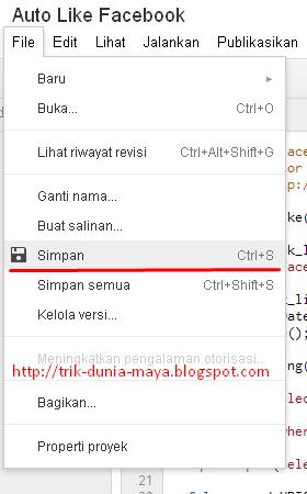 Cara Menyimpan Script Auto Like Di Google Script