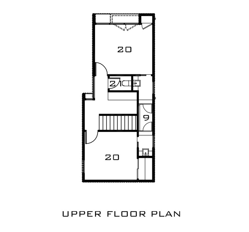 Upper floor plan of Kew House by Vibe Design Group
