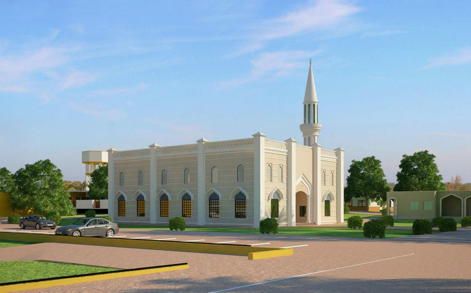3d front mosque 3d front elevation new for Mosque exterior design