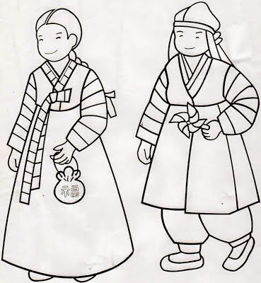 ... A Coloring Page For South Korea. This Is Of A Boy And Girl In Their  Hanboks (traditional Korean Outfit) And If You Want To See The Kids In  Their Hanboks ...