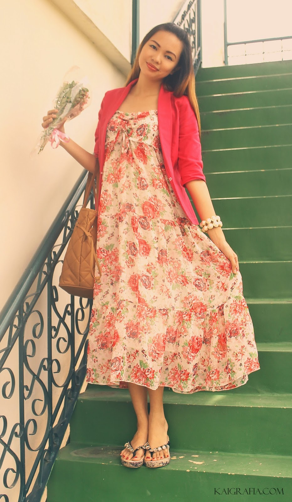 floral dress and blazer for summer