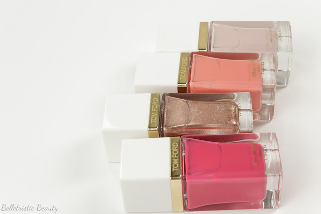 Tom Ford 04 4 Indiscretion, 02 2 Incandescent, 03 3 Coral Beach and 01 1 Sugar Dune Nail Polish Lacquers, Spring 2014 Collection in studio lighting