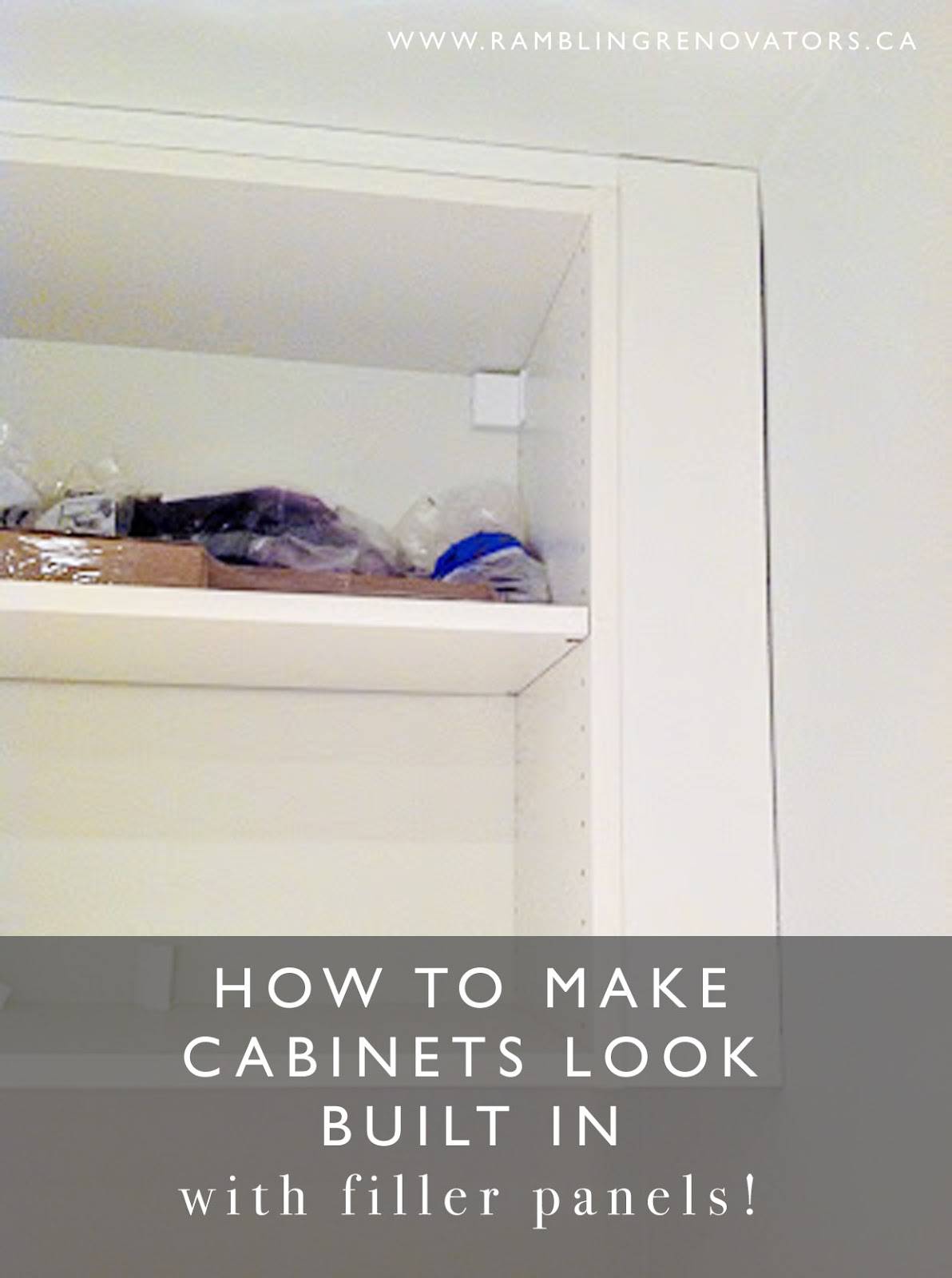 how to make cabinets look built in and diy ikea pax filler panels rambling renovators. Black Bedroom Furniture Sets. Home Design Ideas