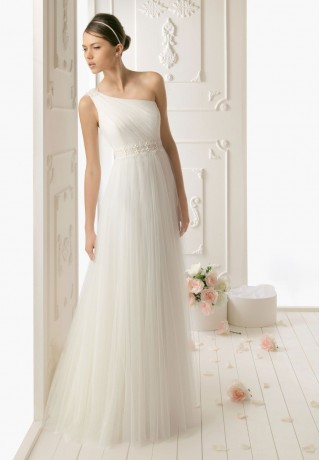 Taffeta One-Shoulder Mermaid Simple Wedding Dress
