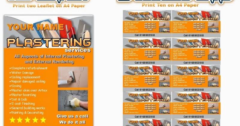Business Templates Forms: Plastering Leaflets,flyer,business Cards Business Start Up Pack