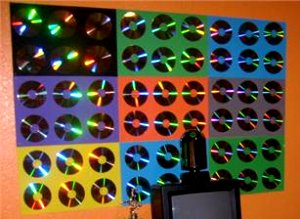 Decorating theme bedrooms maries manor rainbow theme for Cd mural wall display