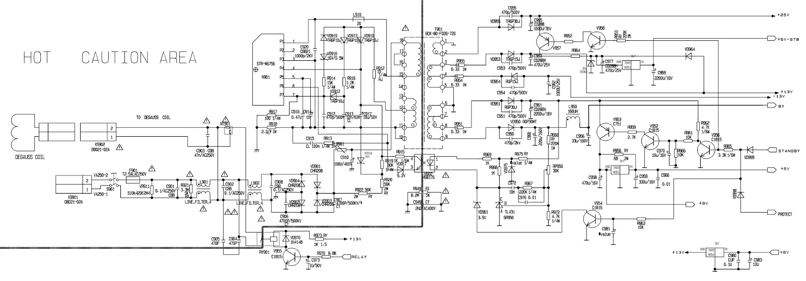 Strw 6756 Tv Power Supply Smps Schematic Circuit Diagram Click On To Zoom In