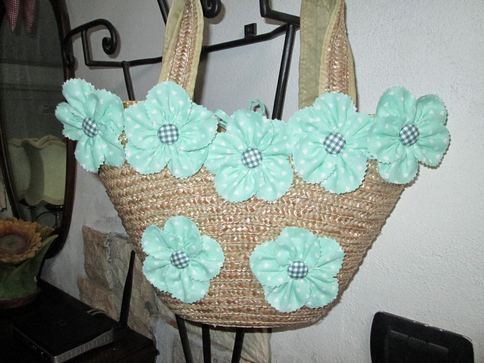Borse Di Paglia Decorate Alluncinetto : Creazioni con stoffa borsa di paglia decorata