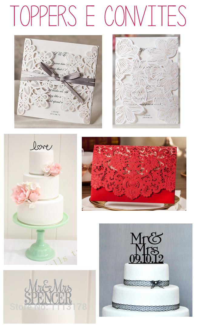 toppers para bolo e convites