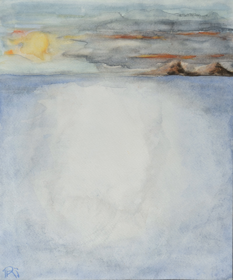 abstract landscape painting, seascape, hills, minimal composition, sunset, contemporary art