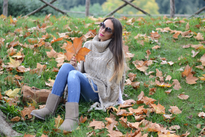 look autunnale poncho ugg