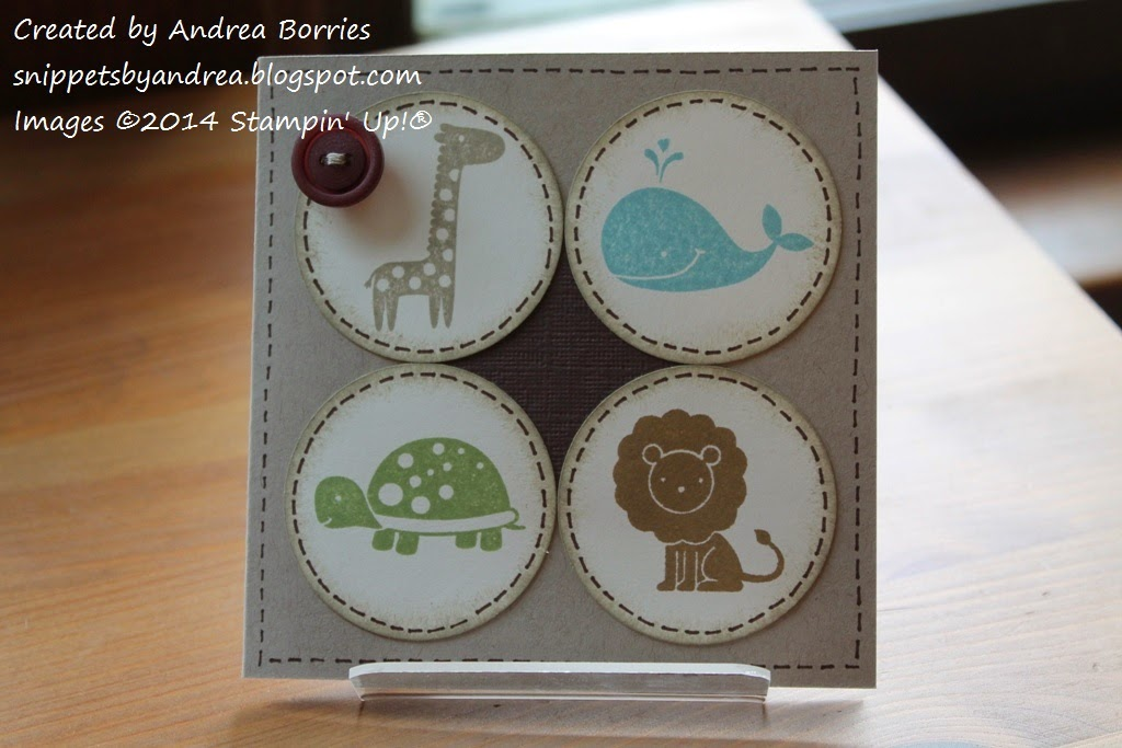 "4"" x 4"" baby card made with the Fox and Friends stamp set."