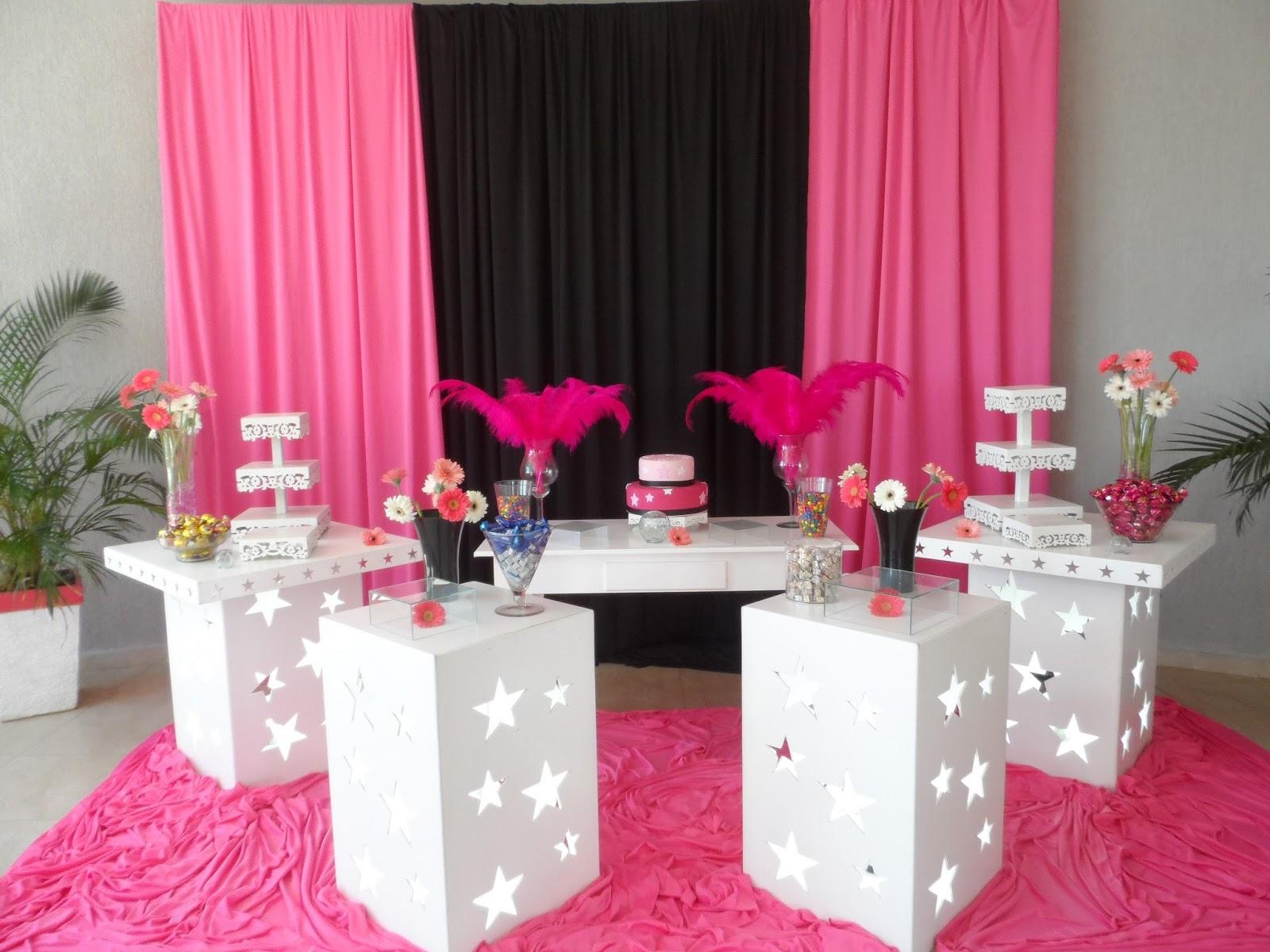 Crilê Decorações de Festas Infantis 15 ANOS PINK E PRETO