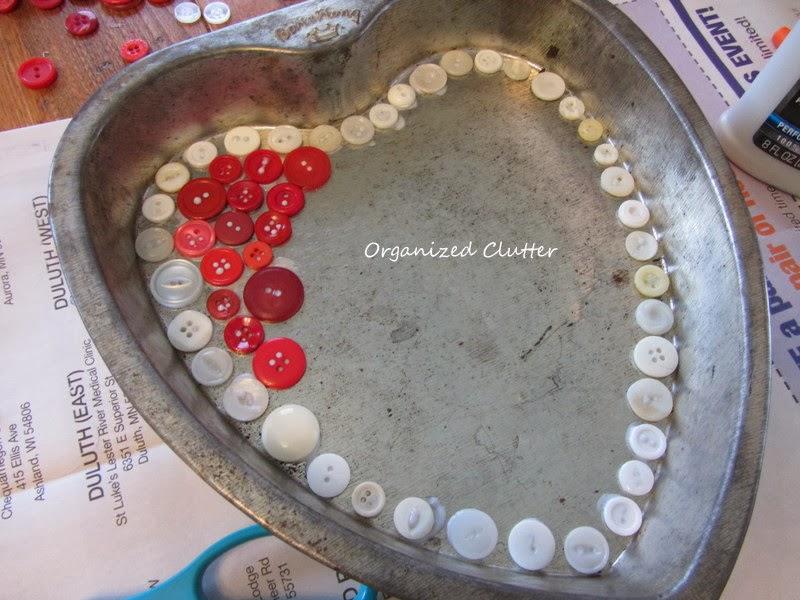 A Heart Cake Pan Button Mosaic www.organizedclutterqueen.blogspot.com