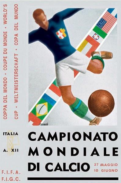 Cartaz da Copa do Mundo realizada na Itália, em 1934.