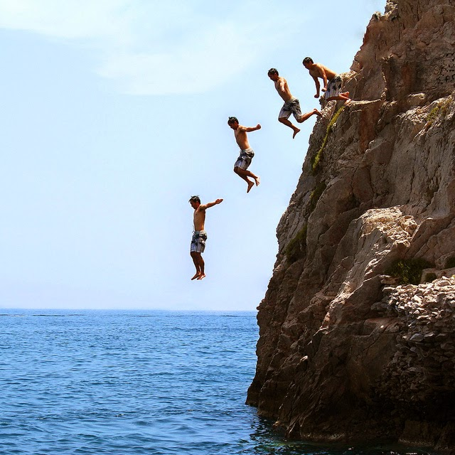 Cliff Jumping, Greece, Santorini