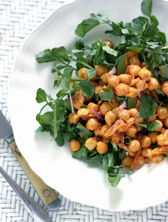 Meatless Mondays with Martha Stewart – Roasted Red Pepper Chickpeas with Watercress